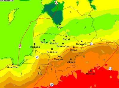 26.apriļa Lietuvas modeļa temperatūras prognoze sestdien dienas vidum.