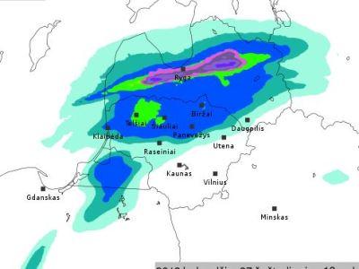 26.apriļa Lietuvas modeļa nokrišņu prognoze sestdien rīta pusē..