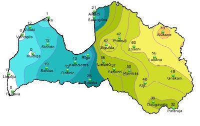 Sniega segas biezums 9. apriļa rītā pēc LVĢMC datiem