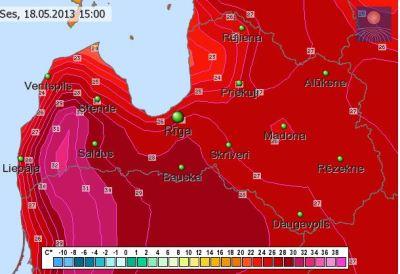Palielinās iespēja, ka brīvdienās temperatūra pārsniegs +30 grādu atzīmi. Te LVĢMC/ECMWF temp. prognoze 6dienai