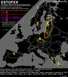 ESTOFEX negaisu prognoze 9. maijam