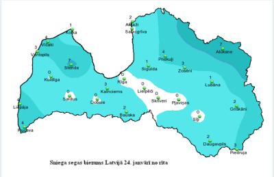Sniega biezums Latvijā24.janvāra ritā.